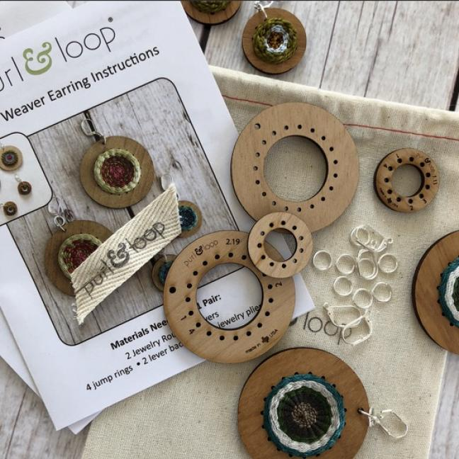 Purl & Loop Round Weaver Earring Kit Combo