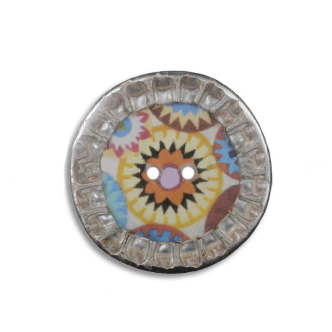 Jim Knopf Knopf aus recycelten Kronkorken bunt 28mm