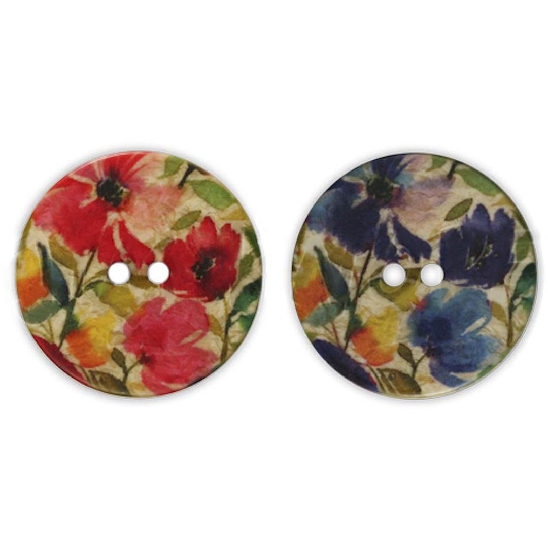 Jim Knopf Resin Kunstharz Knopf Blumenmotiv 18 oder 23mm