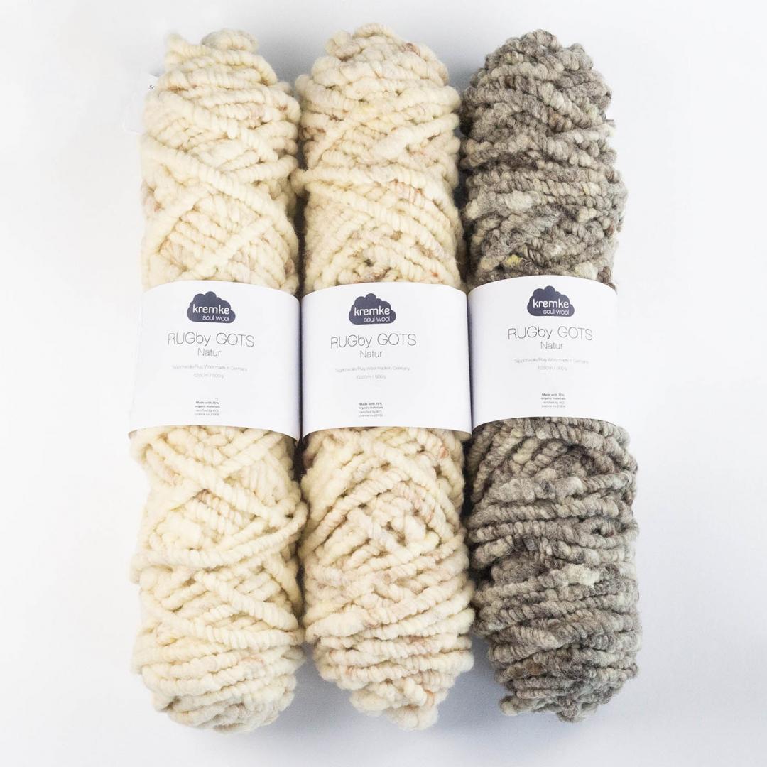 Kremke Soul Wool Rugby Teppichwolle GOTS ungefärbt 500g
