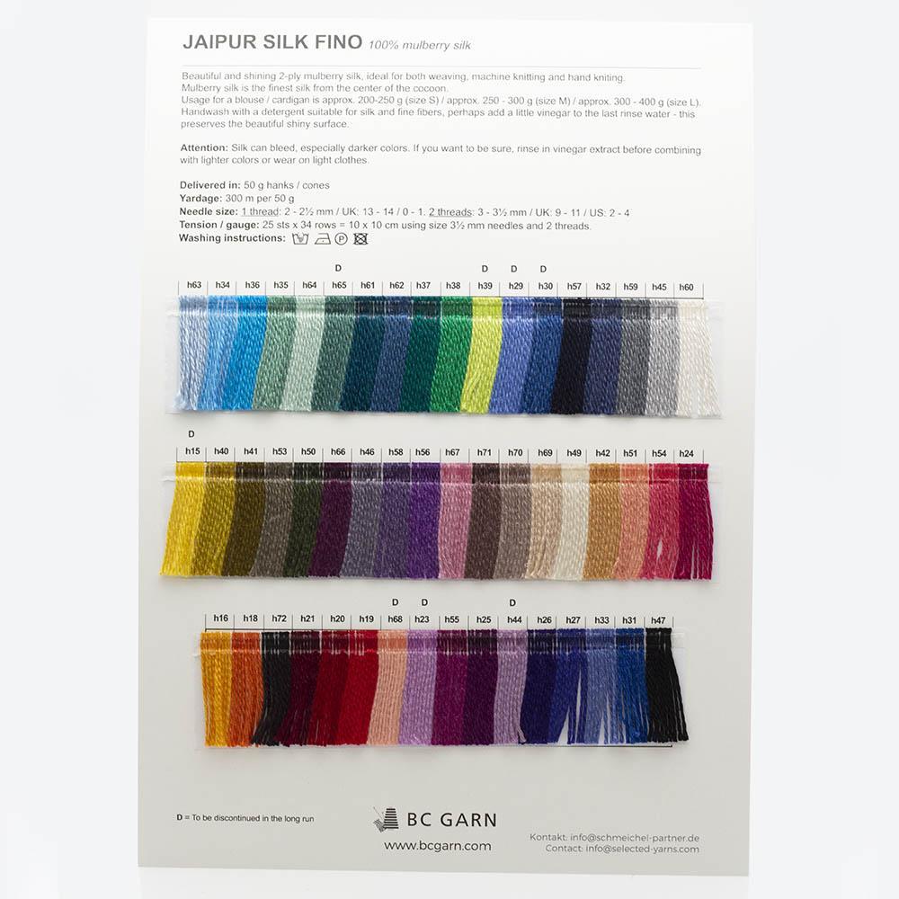 BC Garn Shade Cards BC Garn Jaipur Silk Fino