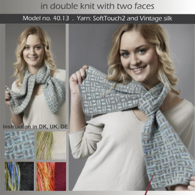 Karen Noe Design Kit Domino Scarf 40.13 dunkelgrau/olive-blau